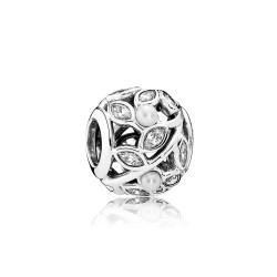 Charm Pandora plata hojas perlas y circonita