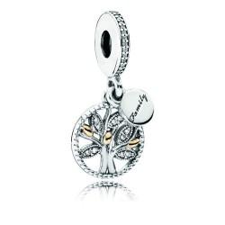 Pandora Charm Arbol de la Familia colgante plata y oro 14k