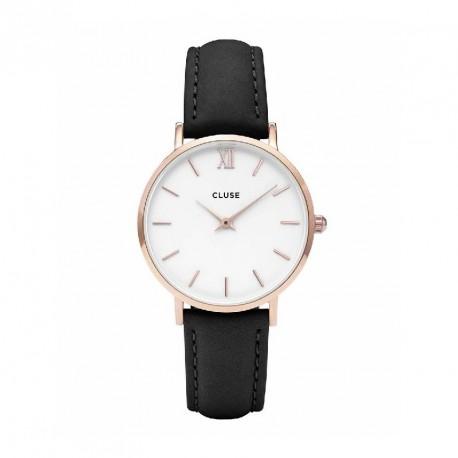 CLUSE Reloj Minuit 33mm CL30003 Rosè esfera blanca correa negra