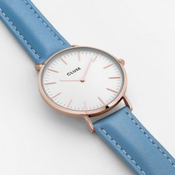 CLUSE Reloj La Bohème Rosé Gold White/Retro Blue CL18033