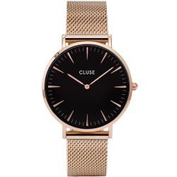 CLUSE Reloj La Bohème Mesh Rosé esfera negra CL18113