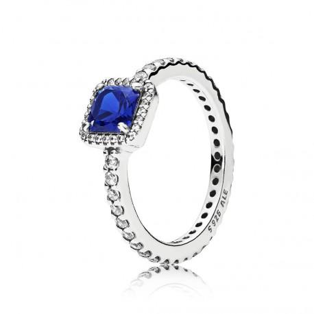 "Pandora Sortija plata ""Elegancia atemporal azul"""