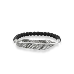 PULSERA THOMAS SABO 'LOVE BRIDGE' PLUMA OBSIDIANA