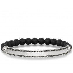 PULSERA 'LOVE BRIDGE' PLACA PUNTITOS OBSIDIANA NEGRO
