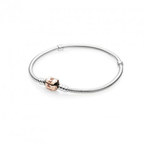 Pandora Pulsera Plata de Ley clasica con cierre aleacion rosé