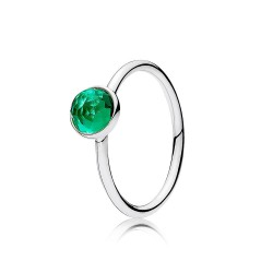 Pandora Sortija plata Gota Mayo cristal verde facetado