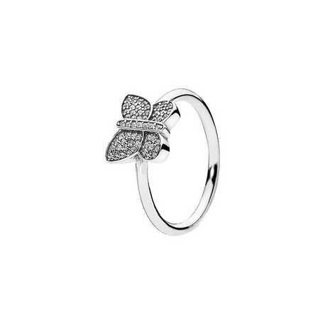 Pandora Sortija plata Mariposa Destellante