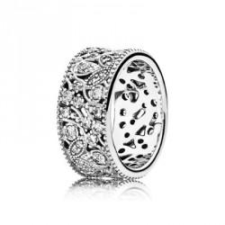 Pandora Sortija plata Hojas Brillantes circonitas