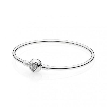 Pandora Pulsera rígida Plata de Ley Corazón de Invierno