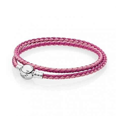 Pandora Pulsera Plata de ley y cuero trenzado doble rosa tonos
