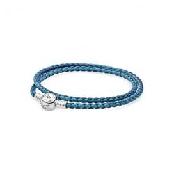 Pandora Pulsera Plata de ley y cuero trenzado doble azul tonos