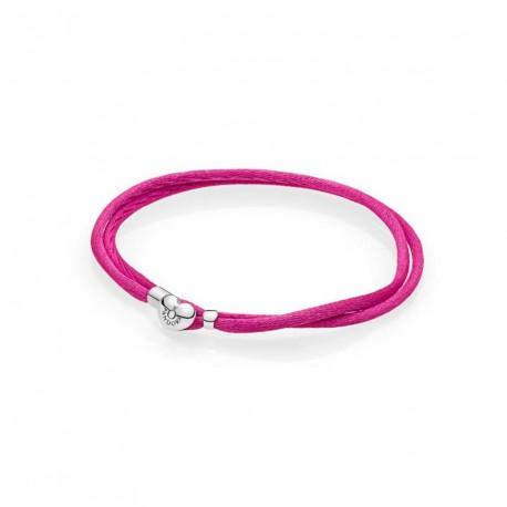 Pandora Pulsera Plata de ley y seda rosa