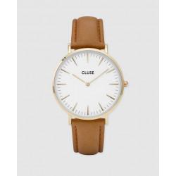 CLUSE Reloj La Bohème Gold White piel marrón CL18409