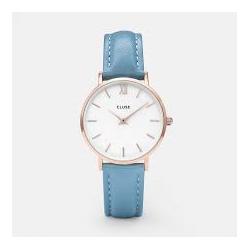 CLUSE Reloj Minuit 33mm CL30046 Rosè esfera blanca correa azul