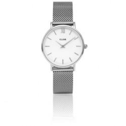 CLUSE Reloj Minuit 33mm CL30009 plateado esfera blanca