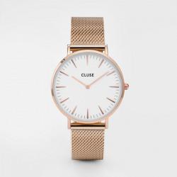 CLUSE Reloj La Bohème Mesh Rosé CL18112 Esfera blanco