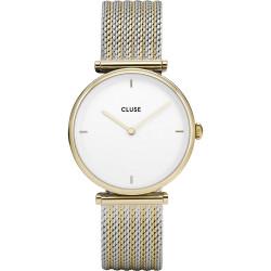 CLUSE Reloj Triomphe Mesh combinado Dorado CL61002 Esfera blanco