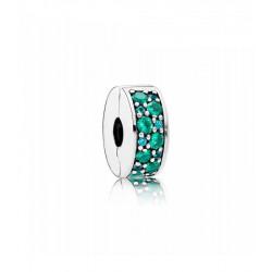 Clip en plata de ley Elegancia Brillante Mosaico Verde Azulado