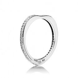 Pandora Sortija plata Arco de amor brillante