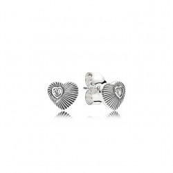 Pendientes Pandora plata Corazones abanico corazón 297298CZ