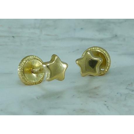 Pendientes oro 18k amarillo estrella 4,50mm