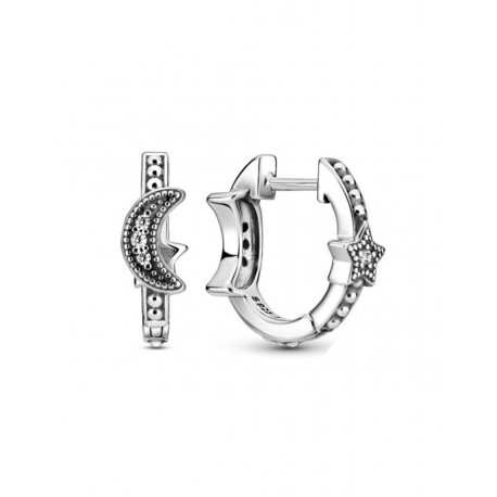 Pandora Pendientes plata Luna Creciente y Estrella 299152C01