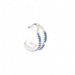 REBECCA Pendiente plata con acabado en rodio Golden Ear Cuff circonitas azul SGEOBD04