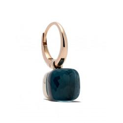 Pomellato Pendientes Nudo con Topacio Azul en oro rosa OB201O6TL