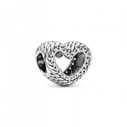 Pandora Charm en plata Corazón en filigrana Cadena de Serpiente799100C01