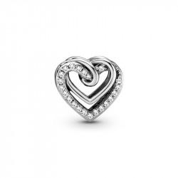 Pandora Charm en plata de ley Corazones Brillantes Entrelazados 799270C01