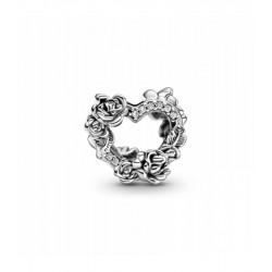 Pandora Charm en plata de ley Corazón Abierto y Flores Rosas 799281C01