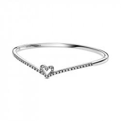 Pandora Pulsera en plata de ley Corazón Espumoso Brillante 599297C01-1