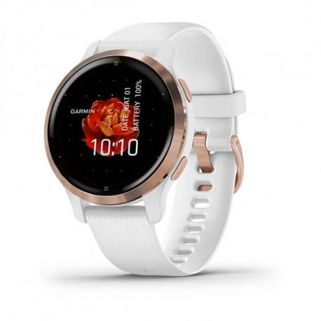 GARMIN Venu® 2S Bisel de acero inoxidable de color Rose Gold con carcasa y correa de silicona blanca 010-02429-13