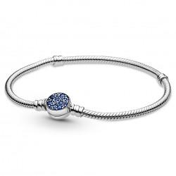 Pandora Pulsera Moments Cadena de Serpiente Cierre Azul Brillante 599288C01